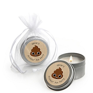 Party 'Til You're Pooped - Personalized Poop Emoji Party Candle Tin Favors - Set of 12