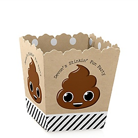 Party 'Til You're Pooped - Party Mini Favor Boxes - Personalized Poop emoji Party Treat Candy Boxes - Set of 12