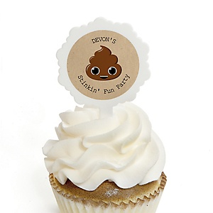 Party 'Til You're Pooped - Personalized Poop Emoji Party Cupcake Picks and Sticker Kit - 12 ct