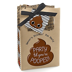 Party 'Til You're Pooped - Personalized Poop Emoji Party Favor Boxes - Set of 12