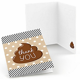 Party 'Til You're Pooped - Poop Emoji Party Thank You Cards - 8 ct