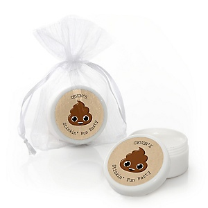 Party 'Til You're Pooped - Personalized Poop Emoji Party Lip Balm Favors - Set of 12
