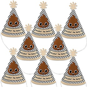 Party 'Til You're Pooped - Mini Cone Poop Emoji Party Hats - Small Little Party Hats - Set of 8