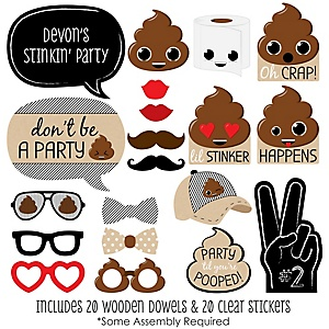 Party 'Til You're Pooped - 20 Piece Photo Booth Props Kit