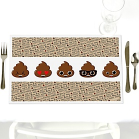 Party 'Til You're Pooped - Party Table Decorations - Poop Emoji Party Placemats - Set of 12