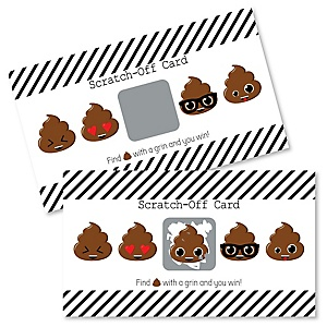 Party 'Til You're Pooped - Poop Emoji Party Game Scratch Off Cards - 22 ct