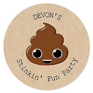 Party 'Til You're Pooped - Personalized Poop Emoji Party Sticker Labels - 24 ct