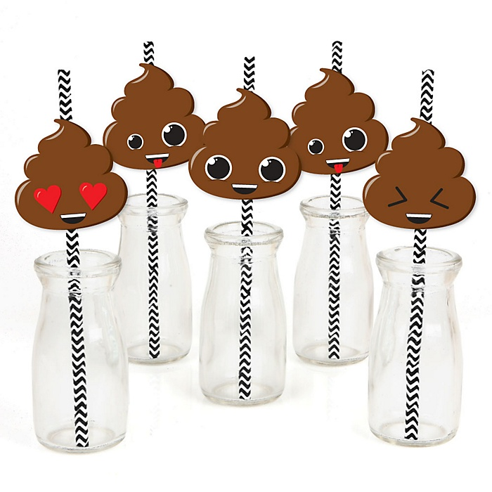 Party 'Til You're Pooped - Paper Straw Decor - Poop Emoji Party Striped Decorative Straws - Set of 24
