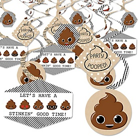 Party 'Til You're Pooped - Poop Emoji Party Hanging Decor - Party Decoration Swirls - Set of 40