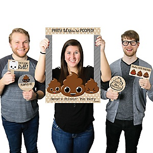 Party 'Til You're Pooped - Personalized Poop Emoji Party Selfie Photo Booth Picture Frame & Props - Printed on Sturdy Material