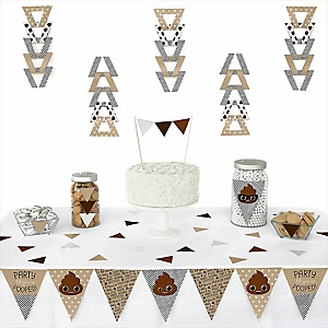 Party 'Til You're Pooped -  Triangle Poop Emoji Party Decoration Kit - 72 Piece