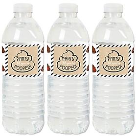 Party 'Til You're Pooped - Poop Emoji Party Water Bottle Sticker Labels - Set of 20