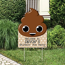 Party 'Til You're Pooped - Party Decorations - Poop Emoji Party Personalized Welcome Yard Sign