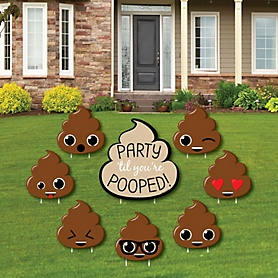 Party 'Til You're Pooped - Yard Sign & Outdoor Lawn Decorations - Poop Emoji Party Yard Signs - Set of 8