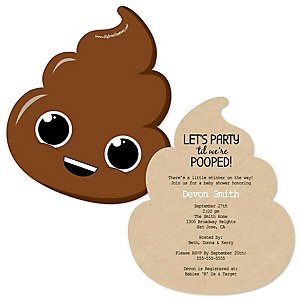 Party 'Til You're Pooped - Shaped Poop Emoji Party Invitations - Set of 12
