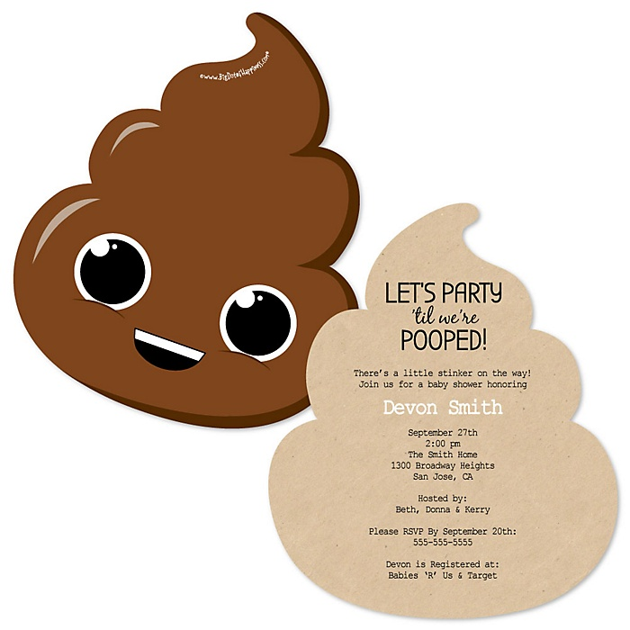Party 'Til You're Pooped - Shaped Poop Emoji Party Invitations - Set of 12