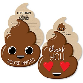 Party 'Til You're Pooped - 20 Shaped Fill-In Invitations and 20 Shaped Thank You Cards Kit - Poop Emoji Party Stationery Kit - 40 Pack