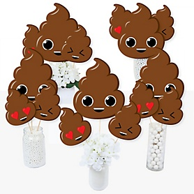 Party 'Til You're Pooped - Poop Emoji Party Centerpiece Sticks - Table Toppers - Set of 15