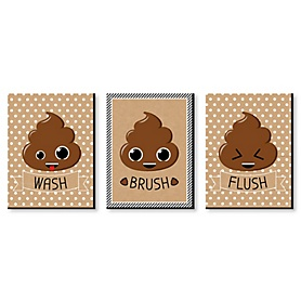 Poop Emoji - Kids Bathroom Rules Wall Art - 7.5 x 10 inches - Set of 3 Signs - Wash, Brush, Flush
