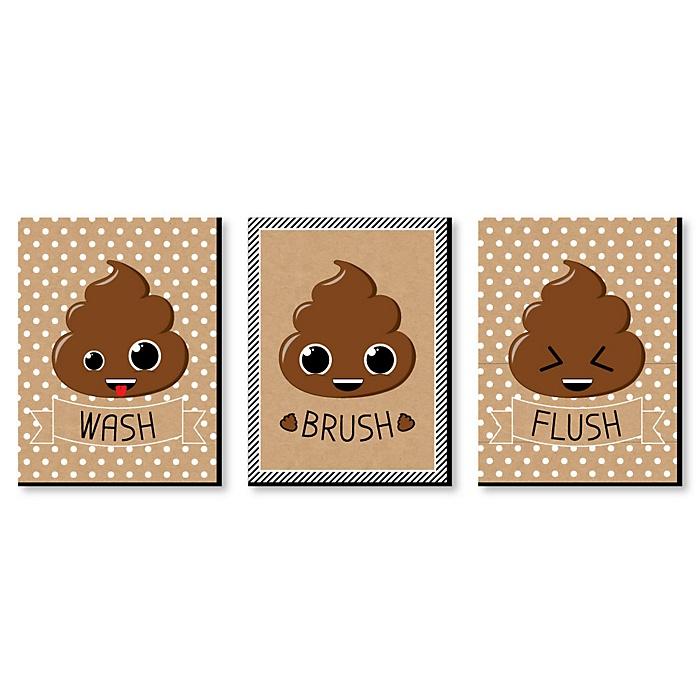 Poop Emoji - Kids Bathroom Rules Wall Art - 7.5 x 10 inches - Set of 3 Signs - Wash, Brush, Flush