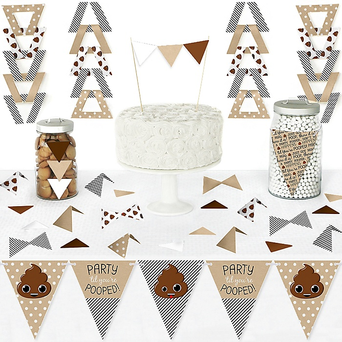Party 'Til You're Pooped - DIY Pennant Banner Decorations - Poop Emoji Party Triangle Kit - 99 Pieces