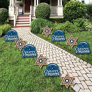 Happy Passover - Star of David Lawn Decorations - Outdoor Pesach Jewish Holiday Party Yard Decorations - 10 Piece