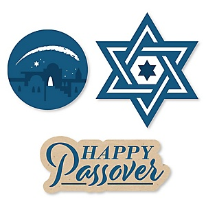 Happy Passover - DIY Shaped Pesach Jewish Holiday Party Cut-Outs - 24 ct