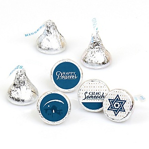 Happy Passover - Pesach Jewish Holiday Party Round Candy Sticker Favors - Labels Fit Hershey's Kisses - 108 ct
