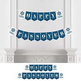 Happy Passover - Personalized Pesach Jewish Holiday Party Bunting Banner and Decorations