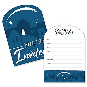 Happy Passover - Shaped Fill-In Invitations - Pesach Jewish Holiday Party Invitation Cards with Envelopes - Set of 12
