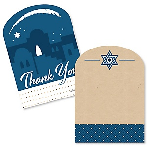 Happy Passover - Shaped Thank You Cards - Pesach Jewish Holiday Party Thank You Note Cards with Envelopes - Set of 12