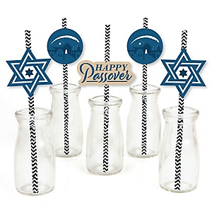 Happy Passover - Paper Straw Decor - Pesach Jewish Holiday Party Striped Decorative Straws - Set of 24