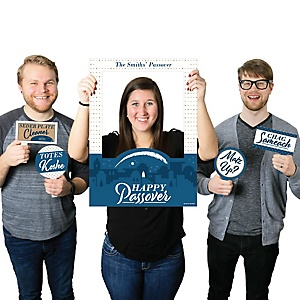 Happy Passover - Personalized Pesach Jewish Holiday Party Photo Booth Picture Frame and Props - Printed on Sturdy Material
