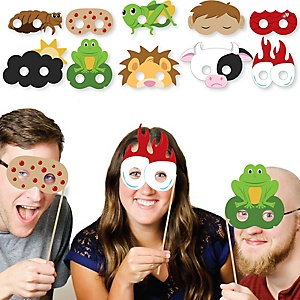 Happy Passover Plague Masks - Paper Card Stock Pesach Jewish Holiday Party Photo Booth Props Kit - 10 Count