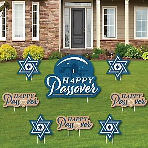 Happy Passover - Yard Sign and Outdoor Lawn Decorations - Pesach Jewish Holiday Party Yard Signs - Set of 8