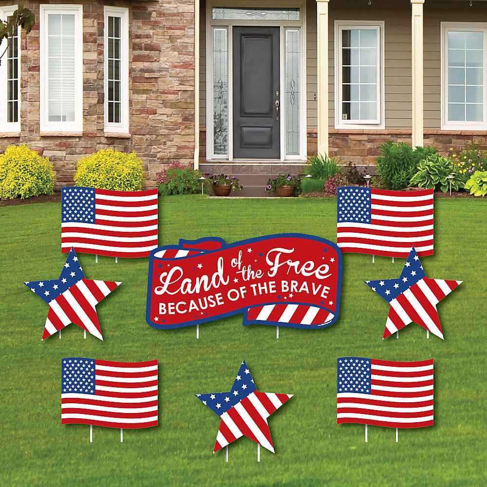 Patriotic 4th Of July Independence Day Yard Sign Outdoor Lawn Decorations Cemetery Grave Marker Decorations Set Of 8