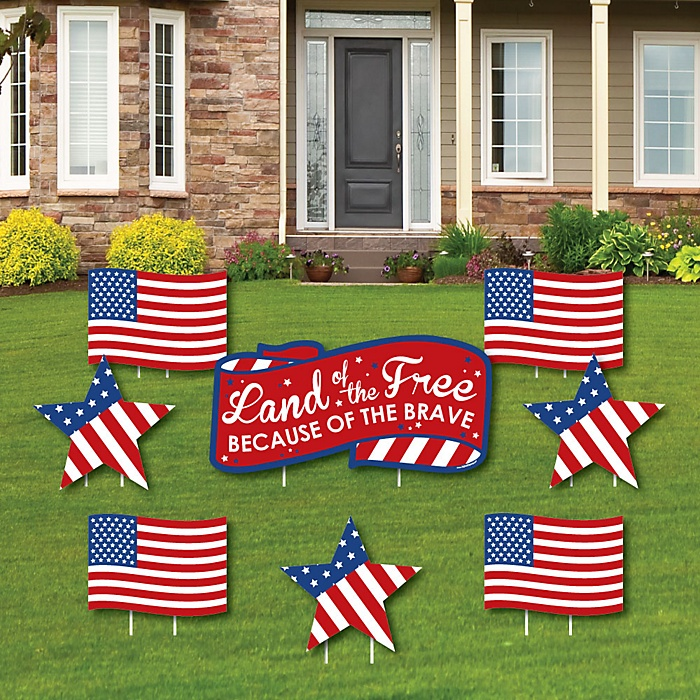 Patriotic - Memorial Day Yard Sign & Outdoor Lawn Decorations - Cemetery Grave Marker Decorations - Set of 8