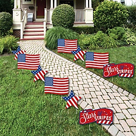 Stars & Stripes - American Flag & Star Lawn Decorations - Outdoor Memorial Day Yard Decorations - 10 Piece