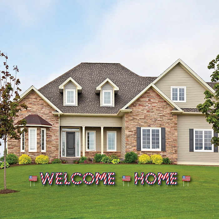 Patriotic WELCOME HOME - Yard Sign Outdoor Lawn Decorations - Military Homecoming Yard Signs