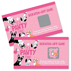 Pawty Like a Puppy Girl - Pink Dog Baby Shower or Birthday Party Game Scratch Off Cards - 22 ct