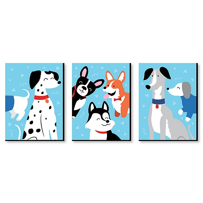 Pawty Like a Puppy - Boy Dog Nursery Wall Art and Kids Room Decor - 7.5 x 10 inches - Set of 3 Prints