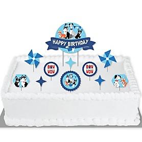 Pawty Like a Puppy - Dog Birthday Party Cake Decorating Kit - Happy Birthday Cake Topper Set - 11 Pieces