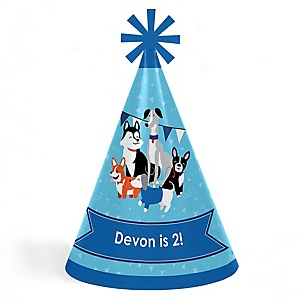 Pawty Like a Puppy - Personalized Cone Happy Birthday Party Hats for Kids and Adults - Set of 8 (Standard Size)
