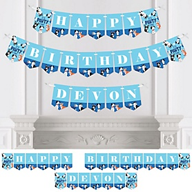 Pawty Like a Puppy - Personalized Dog Birthday Party Bunting Banner and Decorations