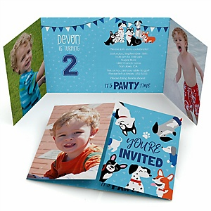 Pawty Like a Puppy - Personalized Dog Birthday Party Photo Invitations - Set of 12