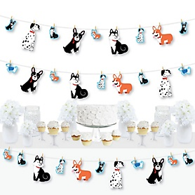 Pawty Like a Puppy - Dog Baby Shower or Birthday Party DIY Decorations - Clothespin Garland Banner - 44 Pieces