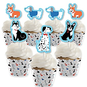 Pawty Like a Puppy - Cupcake Decoration - Dog Baby Shower or Birthday Party Cupcake Wrappers and Treat Picks Kit - Set of 24
