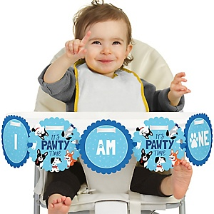 Pawty Like a Puppy 1st Birthday - I am One - First Birthday High Chair Banner