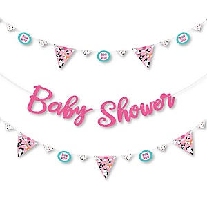Pawty Like a Puppy Girl - Pink Dog Baby Shower Letter Banner Decoration - 36 Banner Cutouts and Baby Shower Banner Letters