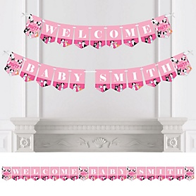 Pawty Like a Puppy Girl - Personalized Pink Dog Baby Shower Bunting Banner and Decorations